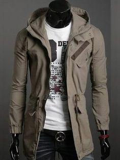 Khaki Korean Men Slim Fitting Classic Hoodie Zipper Cotton Casual Jacket M/L/XL/XXL 1401JK01ka
