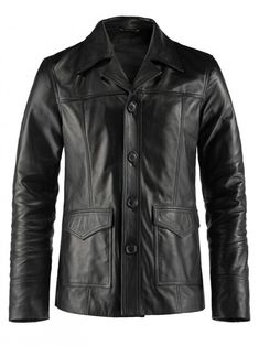 Men Classic Front Button Leather Jacket
