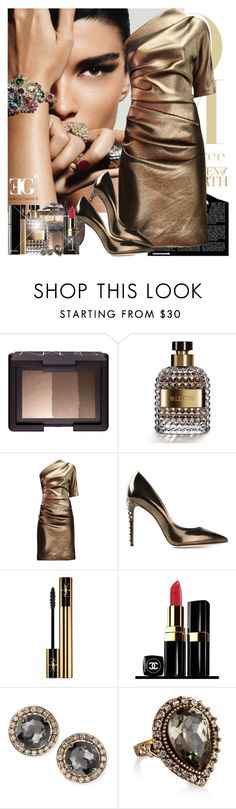 """The Bronze Bond Girl"" by eleonoragocevska ❤ liked on Polyvore featuring Diane Von Furstenberg, NARS Cosmetics, Valentino, Lanvin, Dolce&Gabbana, Yves Saint Laurent, Chanel and Suzanne Kalan"