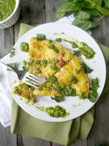 Sun-Dried Tomato Frittata with Walnut-Spinach Pesto