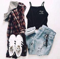Hipster Outfits — Tartan Jacket + black Top + Bluesky Jeans + Adidas...