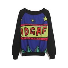 Stars IDGAF Print Black Sweatshirt   pariscoming