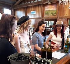 This group of ladies spent a full day touring the wineries of Tamborine Mountain with Cork 'n Fork Tours. They tasted three white, three red and a couple of fortified wines at each place, had a delicious two course lunch at one of the winery restaurants, they also visited the distillery.  We provided cheese and crackers, bottled water and a running commentary about the places they visited and the region in general for their entertainment. Education and fun are what we are abo