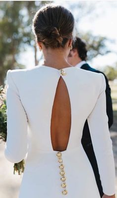 18 Of The Most Graceful Simple Wedding Dresses With Sleeves ❤ simple wedding dresses with sleeves open back with buttons lorenasanjose ❤ Simple Wedding Dress With Sleeves, Wedding Dress Sleeves, Long Sleeve Wedding, Dream Wedding Dresses, Bridal Dresses, Wedding Gowns, Dresses With Sleeves, Civil Wedding Dresses, Wedding Dress Buttons