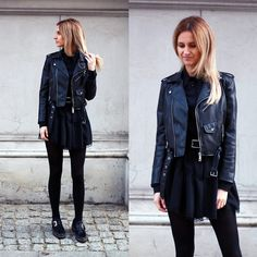 Adriana M. - Zara Leather Jacket, Nik Flat Boots - Little black dress