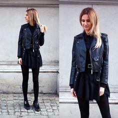 Adriana M. - Zara Leather Jacket, Nik Flat Boots - Little black dress