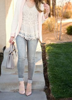 ceb12ae0548c0f Spring Neutrals    Cream Lace Top   Blush Details - Glamour-Zine (grey  skinny jeans