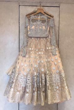 Tricia Beige Lehenga by Falguni Shane Peacock – Indian Bridal Lehenga, Indian Bridal Wear, Indian Wedding Outfits, Bridal Outfits, Indian Outfits, Indian Reception Outfit, Bollywood, Traditional Fashion, Traditional Outfits
