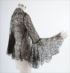 1920s Deco Black Lace Jacket with Butterfly Sleeves, bottom of sleeves is a full circle of fabric.  Beautiful!