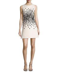 TD12J kate spade new york sleeveless embellished structured crepe dress, light shale