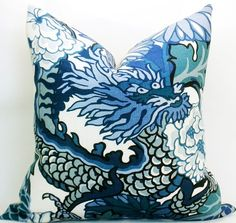 Pillow in Schumacher Chiang Mai Dragon  This is the fabric for dining chair seats