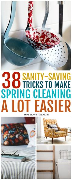These 38 diy spring cleaning tips and tricks are more of a checklist of things you need to do to keep your entire home (i.e. bedroom, kitchen, bathroom, living room, office and garage) clean, organized and decluttered. You can deep clean your house in one day or the entire weekend! Hot Beauty Health #diycleaning #cleaningtips #tipsandtricks #springcleaning