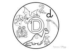 Mandalas del abecedario para colorear: Letra D