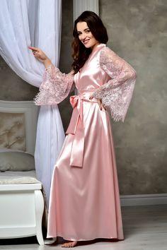 Long blush pink wedding kimono robe Lace bridal robe Bridal maxi dressing gown Bridal satin lace robe Daughter bridal shower gift from mom Lace Bridal Robe, Bridal Lingerie, Bridal Gown, Kimono Dressing Gown, Lace Nightgown, Bridal Nightgown, Wedding Kimono, Lace Kimono, Kimono Style
