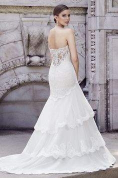 efab12cb9f975d paloma blanca bridal spring 2015 style 4550 strapless sweetheart fit flare  tulle alencon lace wedding dress scalloped hem -- Beautiful Spring 2015 ...