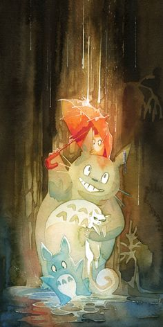 Umbrella Totoro and Angry Pangur Ban in a Puddle 10x20 Poster (Miyazaki x Secret of Kells Crossover) by storyofthedoor on Etsy https://www.etsy.com/listing/168858563/umbrella-totoro-and-angry-pangur-ban-in