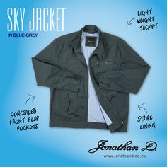 Make the right statement with Jonathan D's Sky Jacket. Made from cotton, this lightweight jacket has inner stripe lining, front panel lines, zipped chest pocket and concealed front flap pockets. Lightweight Jacket, Summer 2014, Blue Grey, Sky, Pockets, Creative, Cotton, Heaven