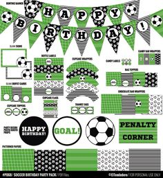 Soccer party package to decor your soccer birthday by eltendedero Soccer Birthday Parties, Football Birthday, Soccer Party, Sports Party, Birthday Party Decorations, 8th Birthday, Party Labels, Party Printables, Easter Printables
