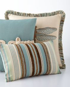 -6K3X Elaine Smith  Aqua Dragonfly Pillow Chocolate/Aqua Multi-Stripes Pillow