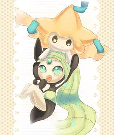 Meloetta and Jirachi by Joltik92.deviantart.com on @deviantART MY MOST FAVE POKÉMON IN THE WHOLE ENTIRE FLIPPING SHOW