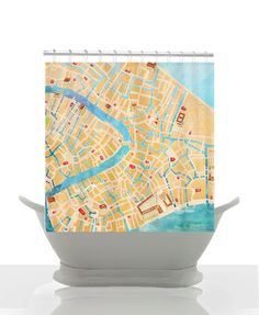 Shower Curtain - Venice Italy Watercolor Canal and Street Map - Home Decor Blue, tan, gold, Bathroom, maps, travel decor