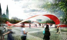 Propuesta para el Mercado y Plaza Zdunski / Mado Architekci Landscape And Urbanism, Urban Landscape, Landscape Design, Architecture Visualization, Green Architecture, Win Prizes, Conceptual Design, Public Art, Public Spaces
