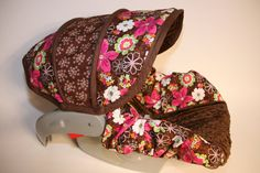 Brown with bright  pink and green flowers Custom by BABYCOVERS2010, $70.00