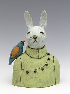 ceramic figure bunny rabbit by Sara Swink