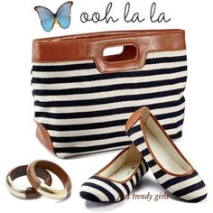 Nautical Striped Handbag Bags and shoes combinations http://www.justtrendygirls.com/bags-and-shoes-combinations/