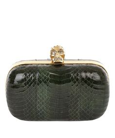 Alexander McQueen | Bottle Green Devil Snake Skull Box Clutch