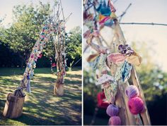 30 Unique Altar Alternatives For Outdoor Weddings: Although it's simple, the added touch of hearts on the archway makes the setting all the more special. Source : If you share a sweet, special saying as a couple, create a hanging banner to personalize your ceremony. Source : Are you the crafty type? Channel that DIY charm with fabric flowers, yarn, wooden monogram letters, and the rest of your favorite go-to materials. Source