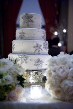 White Winter Wedding Cake with Silver Snowflakes