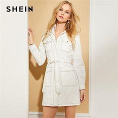 SHEIN White Cotton Contrast Stitch Zip Up Belted Coat Elegant Plain Pocket  Beaded Coats Women Autumn Workwear Trench Coat bd0d9f2eb