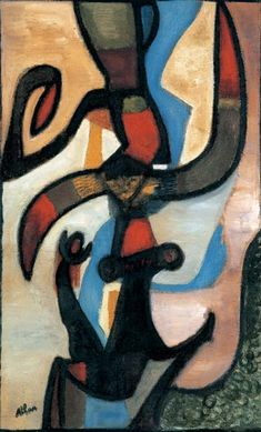 """History! 1956 """"L'oiseau de feu"""" . Jean Michel Atlan, of Algerian Jewish descent, was born in French Algeria.  He was arrested for being Jewish and for his political activism in 1942. In 1946 he met Asger Jorn and got involved with the CoBrA art group. His studio became a meeting place for the group in Paris"""