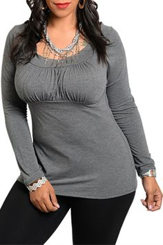 Plus Size Sexy Long Sleeve Knit Top I like this but I dont see how she's plus size