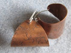 Chunky Sterling Silver and Copper Textured Hoops.  by ZaZing, NZ$50.00
