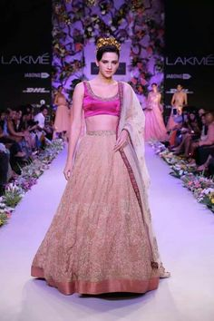 Reception -- Shyamal and Bhumika -- Lakme Fashion Week (LFW) Summer Resort 2014 -- Love the concept but don't like the skirt -- would do lot of thread work like in the Shyamal and Bhumika pink anarkali -- replace this duppatta with heavy boote waala duppatta -- add short sleeves to blouse -- LOVE the simple border on skirt