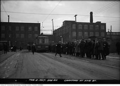 For this curated collection of vintage photographs from Toronto, we took a look along King Street to see what is was once like. Toronto Street, Downtown Toronto, Vintage Photographs, Vintage Photos, Lawrence Street, Peter Street, Queen Street West, Yonge Street, Old Gas Stations