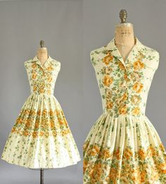 Vintage 50s Dress/ 1950s Cotton Dress/ by WhenDecadesCollide, $145.00