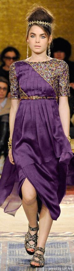 Chanel Pre-Fall 2011. Purple dress w bead accents. Love the tiara & total look.