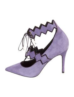 Wisteria and black Abel Muñoz suede pointed-toe pumps with top lace-up closure and covered heels. Includes dust bag and box.