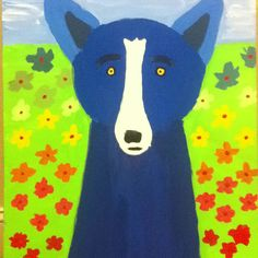This is a Blue dog painting done by Ally Patterson ( a twelve year old)