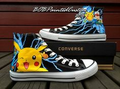 pokemon anime Anime Shoes for Boys Girls Hand Painted High Top B