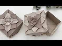 Easy Paper Crafts, Fun Crafts, Diy And Crafts, Gift Boxes With Lids, Box With Lid, Origami Box Tutorial, Gift Wrapping Bows, Wraps, Handmade