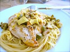 Chicken Artichokes & Olives with Angel Hair Pasta by eugenia