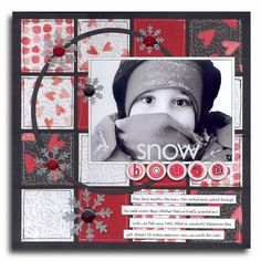 Single page ~ one horizontal photo; snow; winter; reds; snowflakes; would work for Valentine's Day; hearts