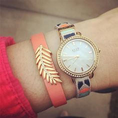 """Love this Design! The woven """"kind"""" band with the time key charm, paired with the coral reversible, leather band and palm leaf charm.  Very """"boho"""". You can shop the look by clicking on pic"""