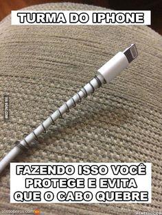 Proteja o cabo do iphone com mola de caneta