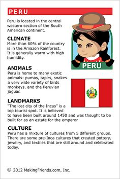 MakingFriends Facts about Peru Printable Thinking Day fact card for our passports. Perfect if you chose Peru for your Girl Scout Thinking Day or International Night celebration.