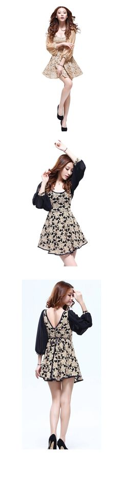 Women Retro Style Bishop Sleeve Lace Panel V-Cut Back Dress - Item 696481 at Eastclothes.com
